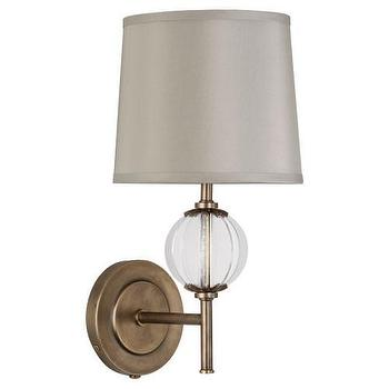 Lighting - Wall Sconce design by Robert Abbey | BURKE DECOR - aged, brass, wall, sconce, glass, oyster, gray, silk, shade,