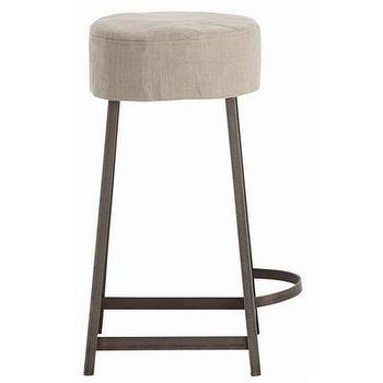 Seating - ARTERIORS Home Rochefort Iron / Wood / Linen Counter Stool | Wayfair - iron, linen, removable, barstool,