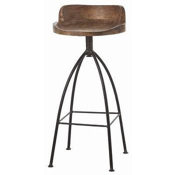 Seating - ARTERIORS Home Hinkley Wood / Iron Swivel Barstool | Wayfair - mango, wood, iron, swivel, barstool, transitional,