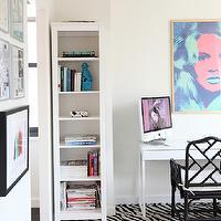 Made by Girl - dens/libraries/offices - chic office, black and white, black and white office, glam office, glamorous office, faux bamboo, faux bamboo chair, black faux bamboo chair, macau chair, black macau chair, carpet tiles, zebra carpet tiles, zebra flor tiles, white desk, modern desk, white modern desk, bookshelf, white bookshelf, turquoise foo dogs, turquoise blue, brigitte bardot, pop art, flor tiles, flor carpet tiles, black and white flor tiles, black and white carpet tiles, zebra flor tiles, zebra carpet tiles, Ballard Designs Macau Armchair, Flor Mod Zebra II Black & White Tile,