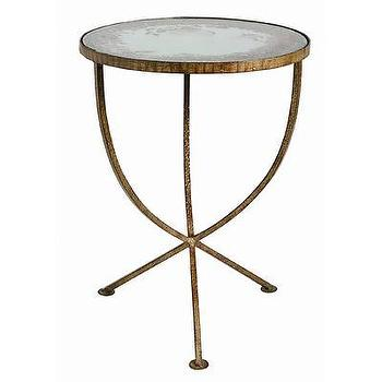 Tables - ARTERIORS Home Sojourn Table in Distressed Madrid Gold | Wayfair - distressed, gold, table, side, end, accent, antiqued, mirrored, top,