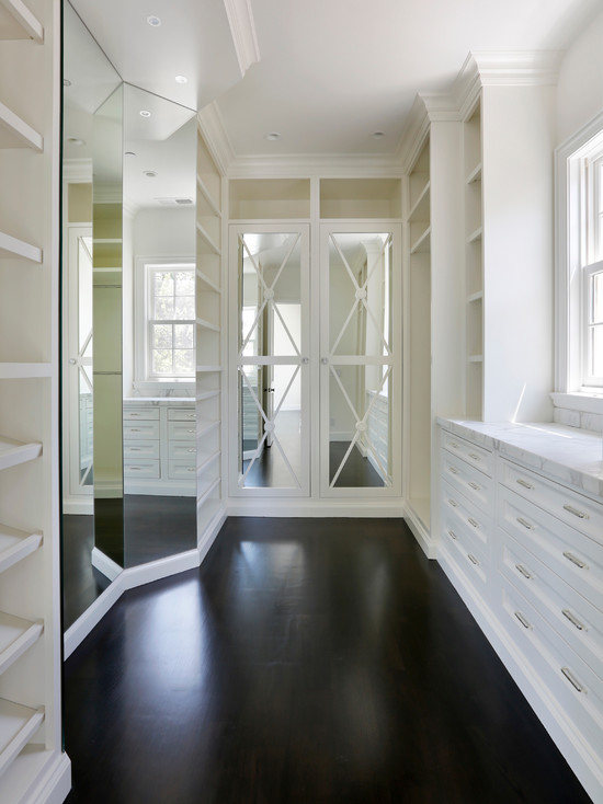 Mirrored Doors Transitional Closet Markay Johnson