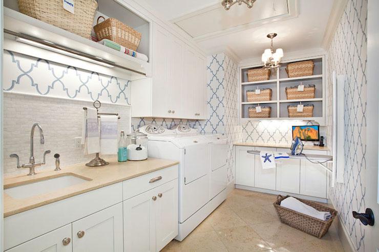 Quatrefoil Wallpaper - Contemporary - laundry room ...