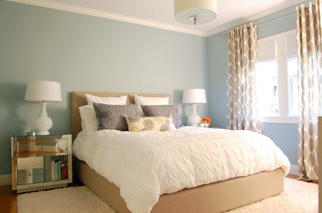 Blue walls contemporary bedroom benjamin moore beach glass niche interiors - Best interior paint colors for small spaces minimalist ...