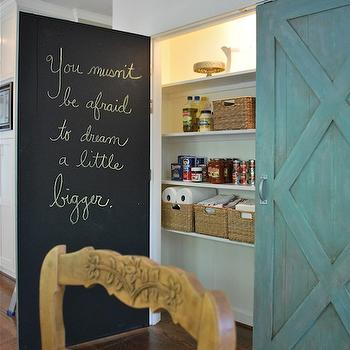 Vreeland Road - kitchens - pantry, pantry doors, duck egg, duck egg doors, barn doors, barn doors pantry, pantry barn doors, chalkboard doors, interior chalkboard doors, wood plank ceiling, chalkboard, kitchen chalkboard, kitchen chalkboard ideas, chalkboard kitchen, chalkboard in kitchen, chalkboard message board, kitchen chalkboard message board, chalkboard door, chalkboard pantry door, pantry chalkboard door,