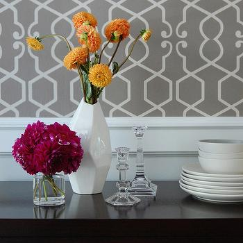 Niche Interiors - dining rooms - vignette, trellis, trellis wallpaper, gray, gray trellis wallpaper, faceted vase, white faceted vase, dahlias, Clarke & Clarke Augustus wallpaper, clarke and clarke wallpaper, augustus wallpaper, Clarke & Clarke Augustus Smoke Wallpaper,