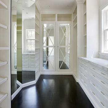 Mirrored Doors, Transitional, closet, Markay Johnson Construction