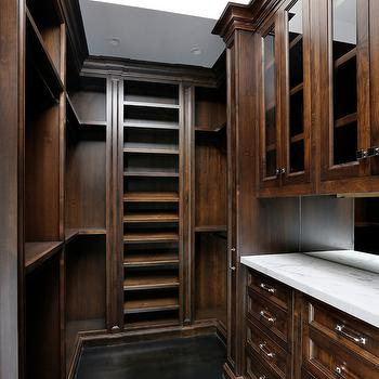 Markay Johnson Construction - closets - mahogany, mahogany closet, walk-in closet, mahogany walk-in closet, mahogany built-ins, built-ins, built-in cabinets, mahogany cabinets, mahogany closet cabinets, inset cabinets, mahogany inset cabinets, glass-front cabinets, built-ins, closet built-ins, built-in cabinets, mahogany built-ins, mahogany built-in cabinets, shoe shelves, slanted shoe shelves, built-in shoe shelves, ebony hardwood floor, black hardwood floor, calcutta marble countertops,