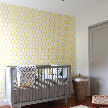 Niche Interiors - nurseries - modern crib, gray modern crib, wicker hamper, wicker, wall stencils, yellow wall stencils, chain link wall stencils, gray crib, stripe crib sheets, gray crib sheets, yellow and gray rooms, gray and yellow rooms, yellow and gray nursery, gray and yellow nursery, yellow and gray boys nursery, gray and yellow boys nursery, Etsy Olive Leaf Stencil in Nautical Chain Pattern, Oeuf Sparrow Crib in Gray, Land of Nod Not a Peep Grey Stripe Crib Fitted Sheet, Land of Nod Not a Peep Crib Quilt, Ikea Asunden Laundry Basket,
