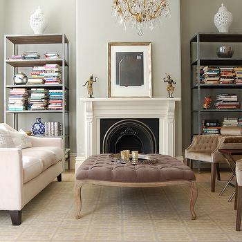 Mauve Velvet Ottoman, French, living room, Niche Interiors