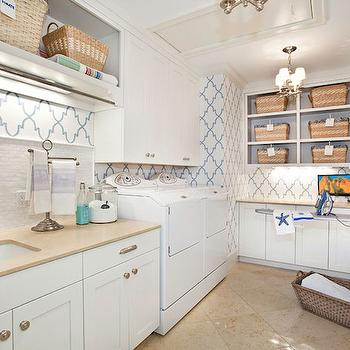 Quatrefoil Wallpaper, Contemporary, laundry room, Markay Johnson Construction