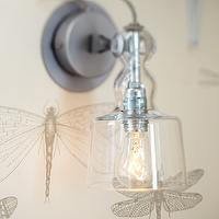 Niche Interiors - nurseries: dragonfly, dragonfly wallpaper, glass sconce, modern glass sconce,  Pretty gray and cream wallpaper with dragonflies