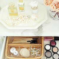BHG - closets - vignette, jewelry vignette, hex tray white hex tray, marble countertop, cosmetic drawer, makeup drawer, make up vanity, styled make up vanity,
