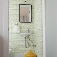 Niche Interiors - bathrooms - geometric wallpaper, green geometric wallpaper, white porcelain sink, wall-mount sink, powder room, hex tiles, black hex tiles, black hex tiles, black hex tile floor, modern powder room, modern faucet, green geometric bathroom wallpaper, geometric bathroom wallpaper, green geometric bathroom wallpaper, Manuel Canovas Trellis Wallpaper,