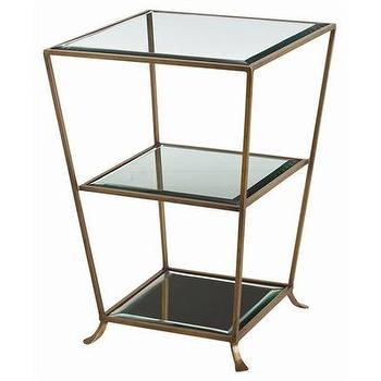 Tables - ARTERIORS Home Nick Glass Side Table | Wayfair - brass, glass, side, table, Art Deco, accent, shelves,