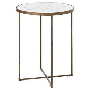 Tables - ARTERIORS Home Casey Tall Hammered Iron / Mirror Table | Wayfair - iron, gold, accent, table, mirror,