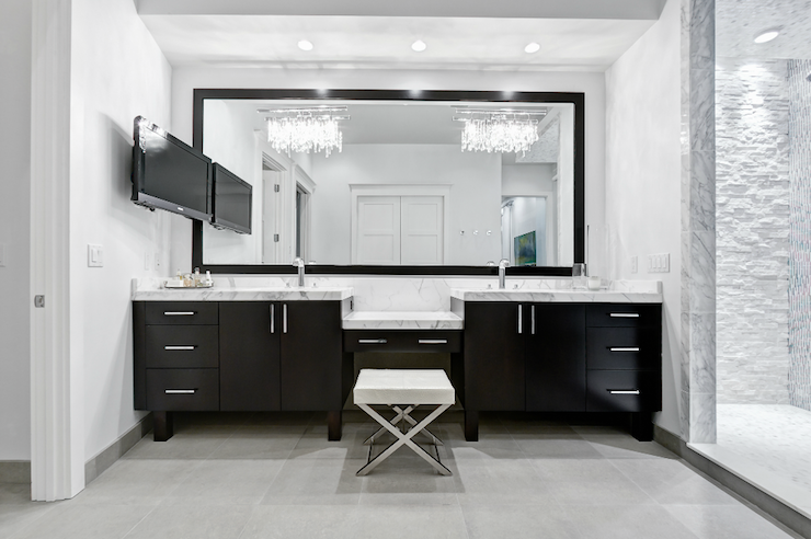 Black double vanity modern bathroom beach chic design for Modern chic bathroom designs