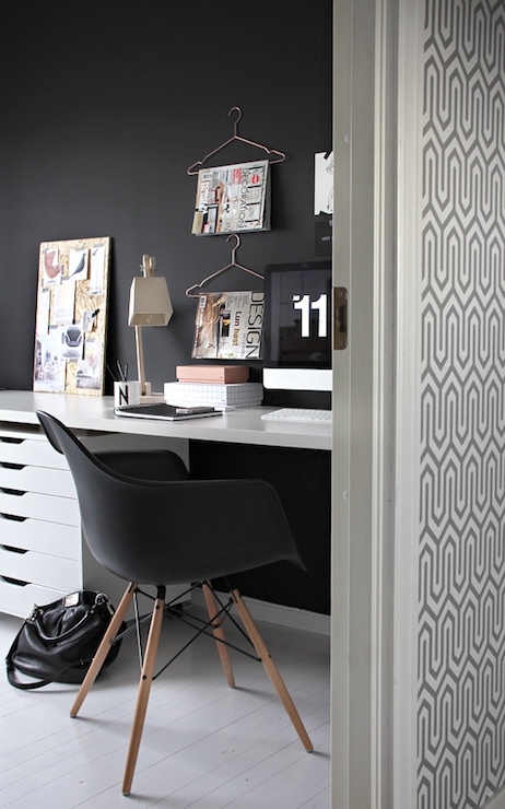 Black And White Office Contemporary Den Library Office