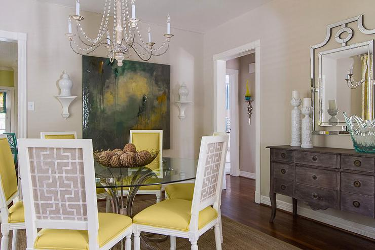 Yellow and gray dining chairs contemporary dining room for Grey yellow dining room ideas