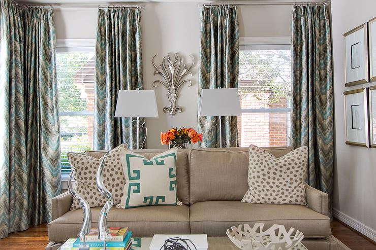 Blue and gray chevron drapes contemporary living room ej interiors for Chevron curtains in living room