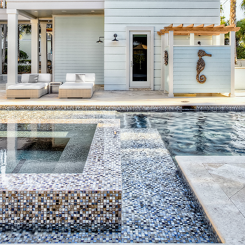 Beach Chic Design - pools - swimming pool, mosaic tiles, mosaic swimming pool tiles, seahorse, seahorse sculpture, outdoor shower, covered patio, hot tub, outdoor furniture, modern outdoor furniture, swimming pool with mosaic tiles, mosaic tile swimming pool,