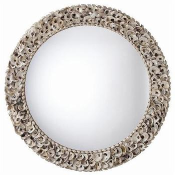Mirrors - ARTERIORS Home Kipling Authentic Oyster Shell Round Mirror | Wayfair - seashell, oyster, shell, round, mirror,