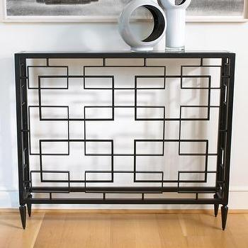 Tables - Global Views Open Block Console Table | Wayfair - iron, black, granite, geometric, console, table,