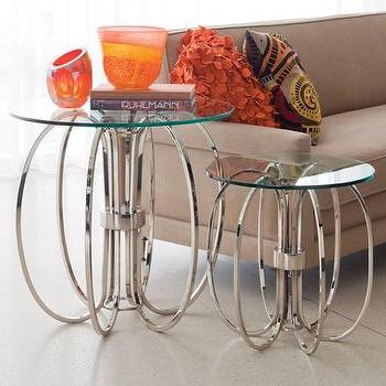 Tables - Global Views Small Oval Ring Table | Wayfair - polished, nickel, glass, oval, ring, table, accent,