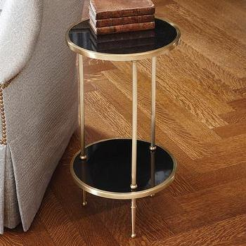 Tables - Global Views 2 Tiered Petite Table | Wayfair - antique, brass, side, table, petite, black,