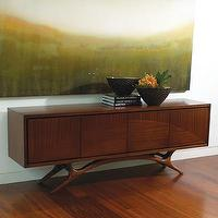 "Tables - Global Views Swoop 88"" TV Stand I Wafair - mid-century, modern, walnut, finish, tv, stand, media, cabinet, console,"