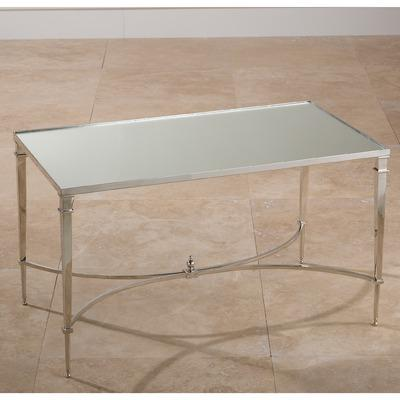 Global views french square nickel mirror coffee table for Wayfair mirrored coffee table
