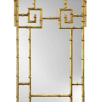 Mirrors - High Street Market - Gold Gilded Faux Bamboo Mirror - iron, frame, gold, finish, bamboo, mirror,