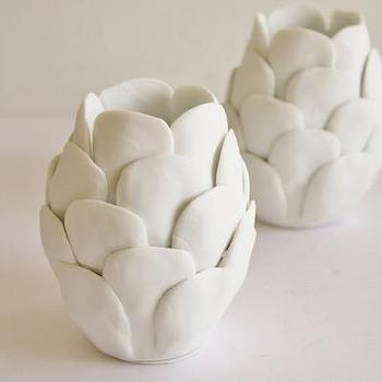Decor/Accessories - High Street Market - Porcelain Artichoke Votive Holder - white, porcelain, artichoke, votive, candle, holder,