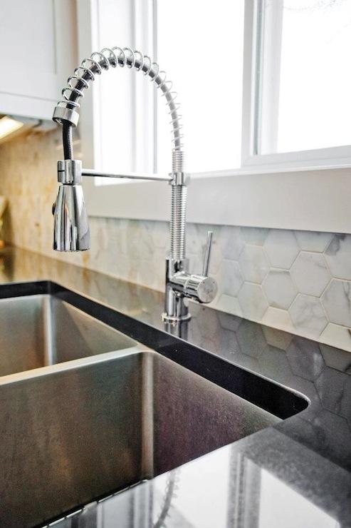 Marble Hexagon Tile Contemporary Kitchen Madison
