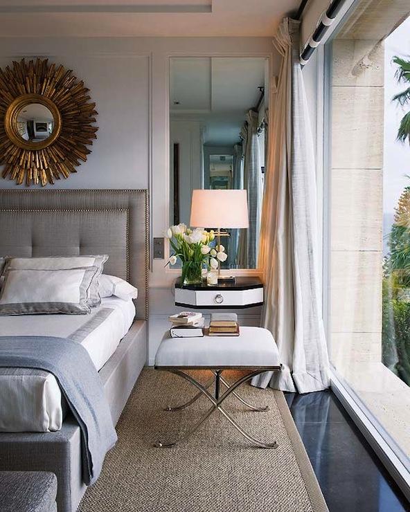 Wall Mounted Nightstand Transitional Bedroom Nuevo