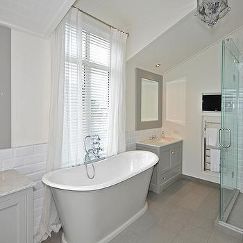 Grey and White Bathroom, Contemporary, bathroom, Paradise Building Development