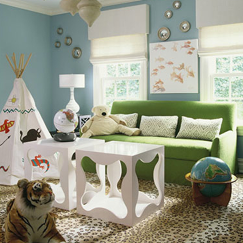Lynne Scalo Design - boy's rooms - playroom, play room, whimsical playroom, whimsical play room, blue walls, blue paint color, Moroccan lanterns, green sofa, cheetah rug, cheetah, , tipi, cubes, white cubes, white cube tables, convex mirrors, white roman shades, linen roman shades, green pillows, leopard print, leopard print rug, leopard rug,