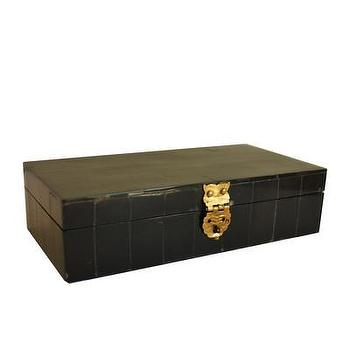 Decor/Accessories - High Street Market - Black Horn Storage Box with Brass Latch - black, horn, jewelry, box, brass, latch,