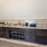 At the Beach with Kris - media rooms - wet bar, espresso cabinets, frameless cabinets, espresso frameless cabinets, stone countertop, stone backsplash, bridge faucet, wall-mount bridge faucet, microwave nook, wet bar, wet bar design,
