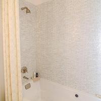 At the Beach with Kris - bathrooms - drop-in tub, mosaic tiles, white mosaic tiles, mosaic tile shower, white mosaic tile shower, yellow shower curtain, shower curtain, yellow and gray bathroom yellow and silver bathroom,