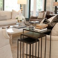 Summer House Style - living rooms - chic living room, elegant living room, gray accent chair, nesting tables, iron nesting tables, silver floor lamp, linen sofas, ivory sofas, black doors, nesting end tables, nesting accent tables,