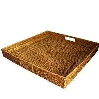 Decor/Accessories - High Street Market - Extra Large Square Woven Serving Tray - rattan, woven, square, tray, serving,
