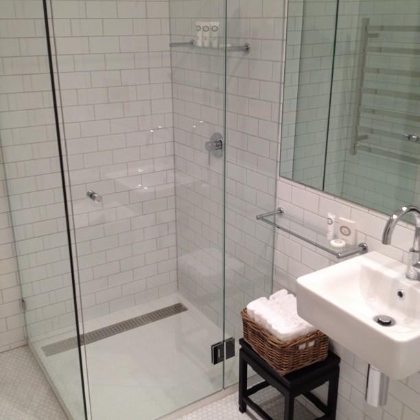 Small glass shower modern bathroom diane bergeron interiors - Modern subway tile bathroom design interior ...