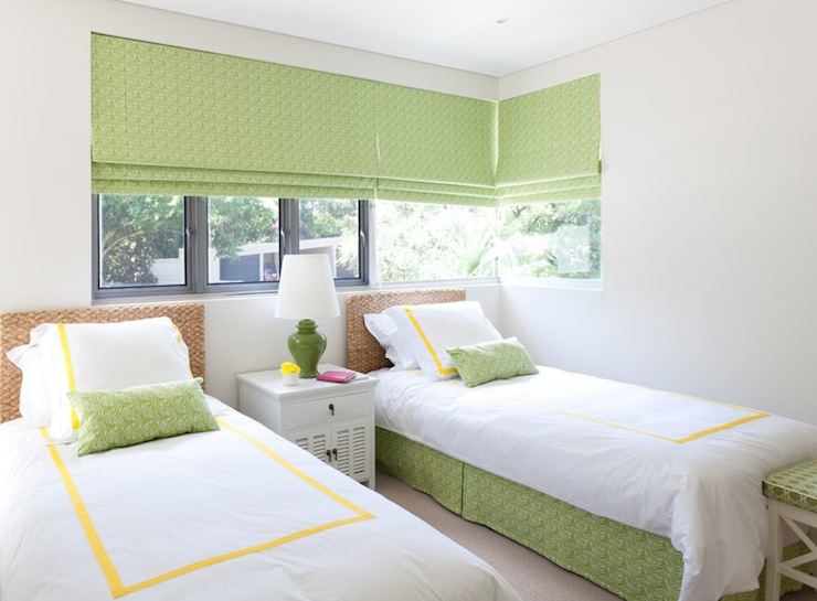 Diane Bergeron Interiors - girl's rooms - yellow and green, yellow and green girl's bedroom, green roman shades, roman shades, geometric roman shades, green geometric roman shades, seagrass headboards, twin headboards, white hotel bedding, yellow, border, green lamp, white nightstand, white bench, green cushion, garden lattice, green garden lattice, green cushion, lattice cushion, green lattice cushion, green and yellow girl room, green and yellow girls room, green and yellow girl bedroom, green and yellow girls bedroom,