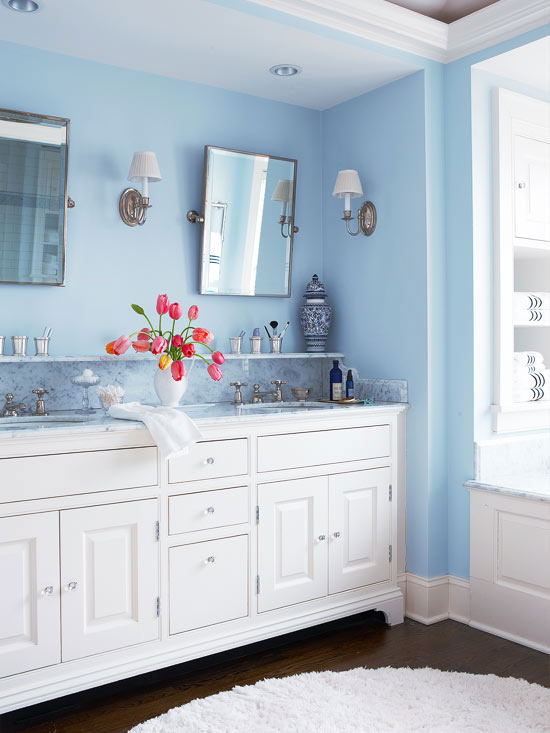 White And Blue Bathroom Design Transitional Bathroom Bhg