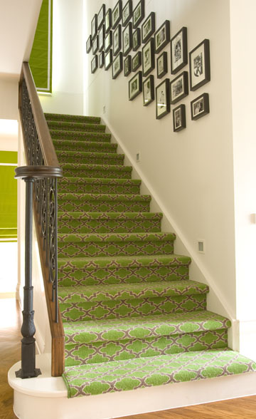 Diane Bergeron Interiors - entrances/foyers - green foyer, stair runner, gray stair runner, green and gray, green and gray stair runner, quatrefoil stair runner, green and gray quatrefoil stair runner, iron spindles, black and white photo gallery, moroccan trellis stair runner, green moroccan trellis stair runner,