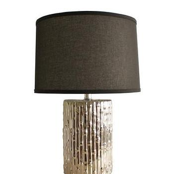 Lighting - High Street Market - Silver Ceramic Bamboo Lamp - metallic, ceramic, bamboo, table, lamp, faux, silver,
