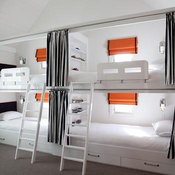 Diane Bergeron Interiors - boy's rooms - modern boy's bedroom, futuristic bedroom, futuristic boys' bedroom, gray and orange, built-in unk beds, orange roman shades, roman shades, black ribbon trim, cafe curtains, stripe cafe curtains, gray and orange boys bedrooms, bunk bed ladders, boys roman shades, orange roman shades, bunk bed curtains, bunk bed ladders, removable bunk bed ladders, white bunk bed ladders, bunk beds, built in bunk beds, boys bunk beds, boys built in bunk beds, boys beds, modern bunk beds, futuristic bunk beds, modern built in bunk beds, futuristic built in bunk beds, white and orange boys room, white and orange boys bedroom, boys bedroom, boy bedroom,