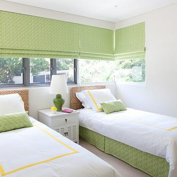 Green and Yellow Girls' Bedroom, Cottage, girl's room, Diane Bergeron Interiors