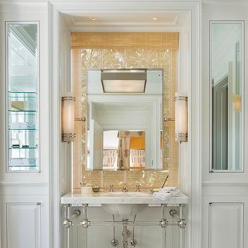 G. P. Schafer Architect - bathrooms - sink nook, sink niche, sink alcove, bathroom sink alcove, bathroom sink nook, marble washstand, 4-leg washstand, lucite washstand, acrylic washstand, sconces flanking mirror, sink in front of window, matchstick shade, rectangular pivot mirror, pivot mirror, cabinets flanking sink, mirrored cabinets, mirrored doors, mirrored cabinet doors, white bathroom cabinets, basketweave tiles, marble basketweave tiles, basketweave floor, marble basketweave floor,